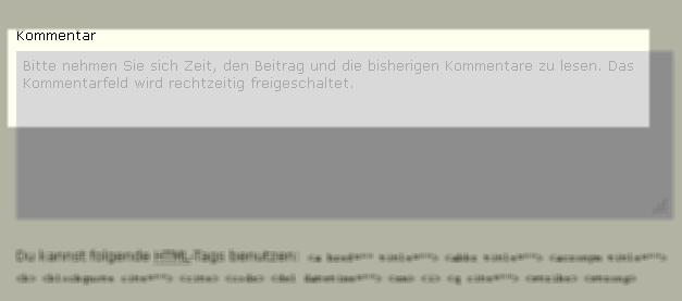 Bildschirmfoto: Kommentarfeld bei aktivem Plugin CommentCaVa
