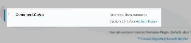 Bildschirmfoto: Plugin CommentCaVa auf der Adminseite einer WordPressinstallation